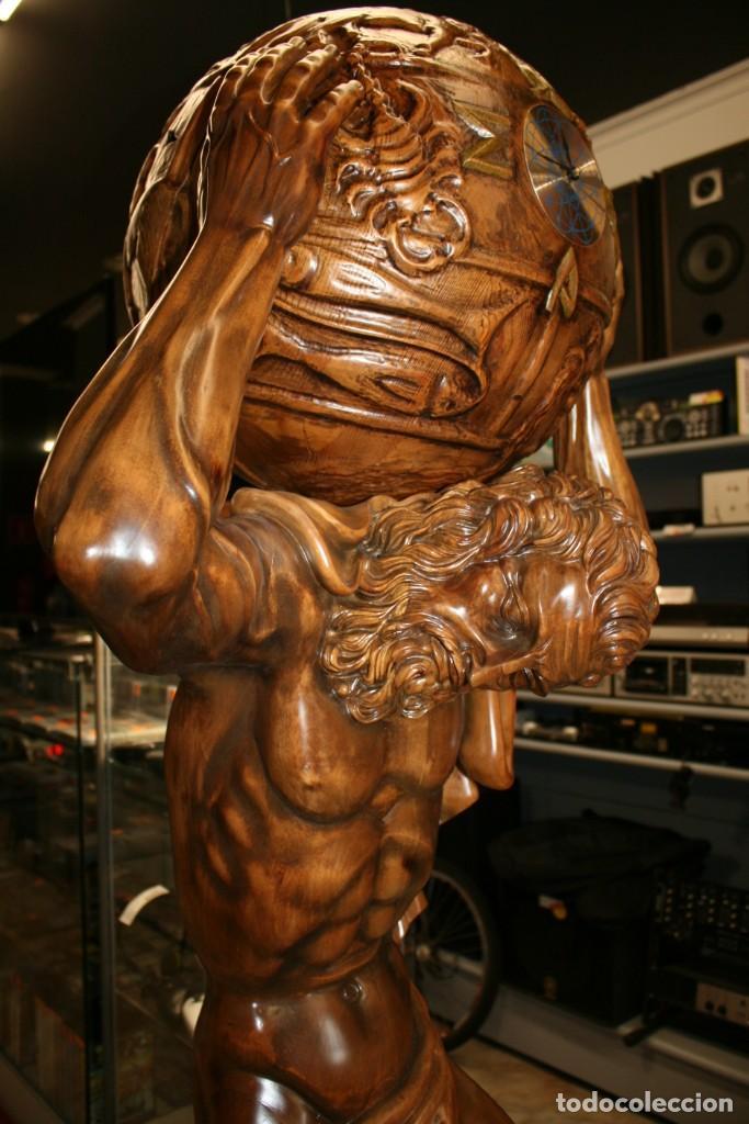 Arte: Atlas Dios Griego escultura tallada en madera 2 metros altura Impresionante - Foto 11 - 185693477