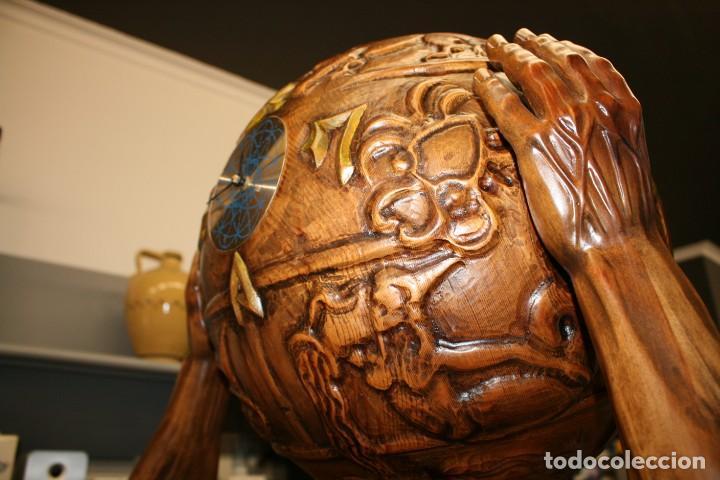 Arte: Atlas Dios Griego escultura tallada en madera 2 metros altura Impresionante - Foto 12 - 185693477