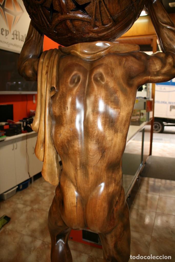 Arte: Atlas Dios Griego escultura tallada en madera 2 metros altura Impresionante - Foto 14 - 185693477