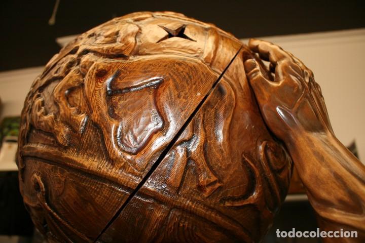 Arte: Atlas Dios Griego escultura tallada en madera 2 metros altura Impresionante - Foto 17 - 185693477