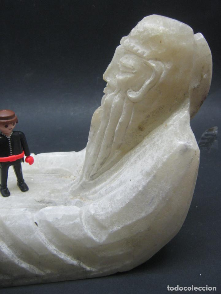 GRAN TALLA ALABASTRO 4,5 KG - CENTRO VACIABOLSILLOS - SABIO CHINO (Arte - Escultura - Alabastro)