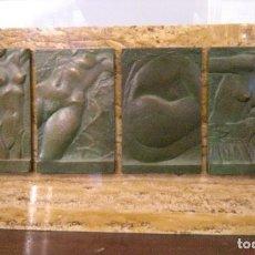 Arte: ESCULTURA RELIEVE BRONCE EN MARMOL DE FERRERO MOLINA VICENTE 1944 - CUADRIPTICO TORSOS DESNUDOS. Lote 186211118