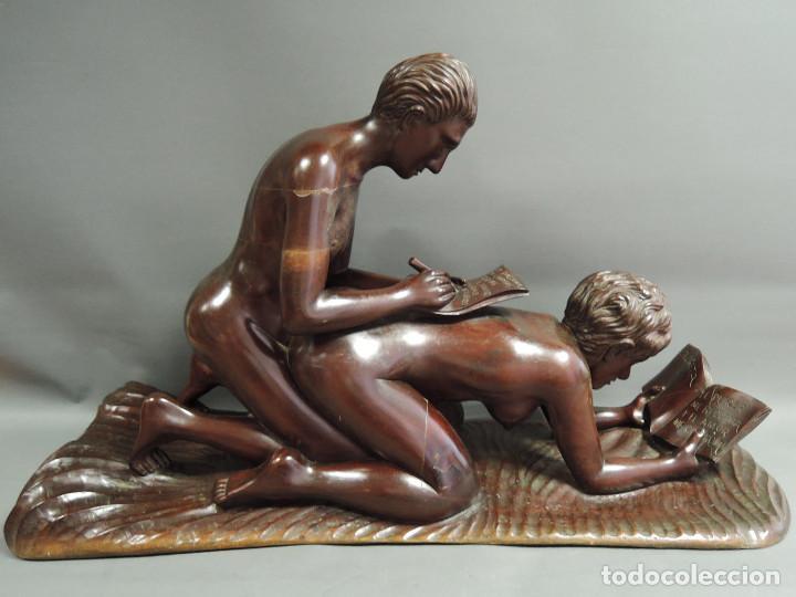 Arte: TALLA PAREJA ERÓTICA EN MADERA DE CAOBA, ATRIBUIDA JUAN SIERRA - Foto 3 - 187181711