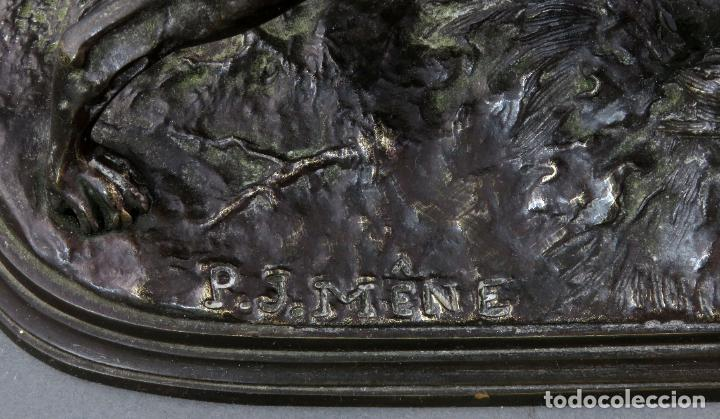 Arte: Escultura en bronce perro de caza Pierre Jules Mené firmado Francia siglo XIX - Foto 6 - 187188841