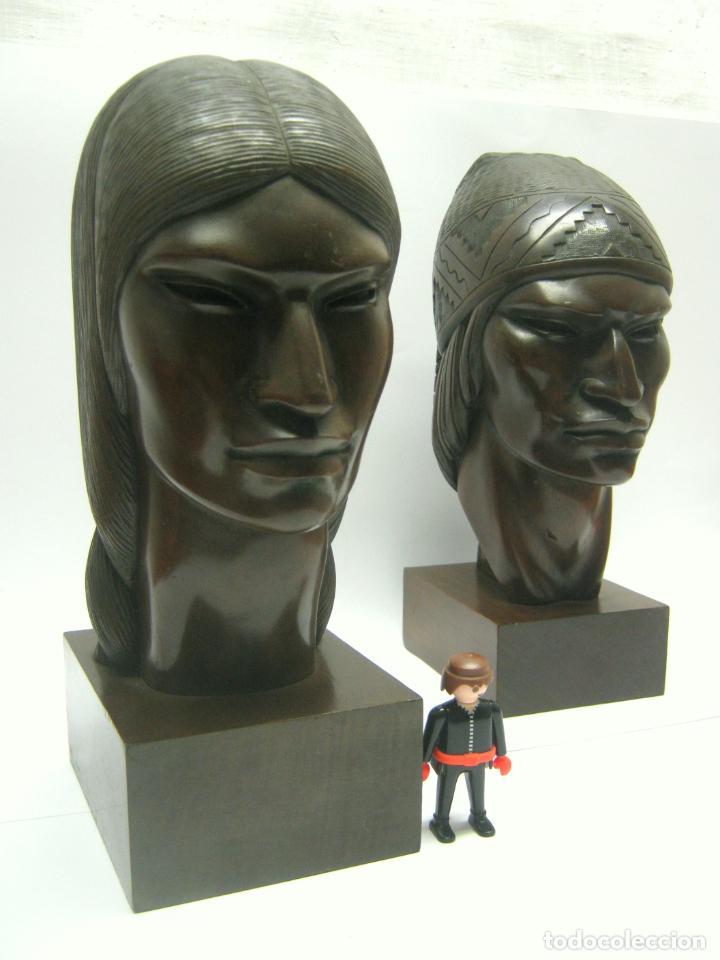 Arte: c.1930 pareja de esculturas Art Decó talla en madera de caoba. Cabezas nativos Bolivia. Firma Franco - Foto 5 - 188763358