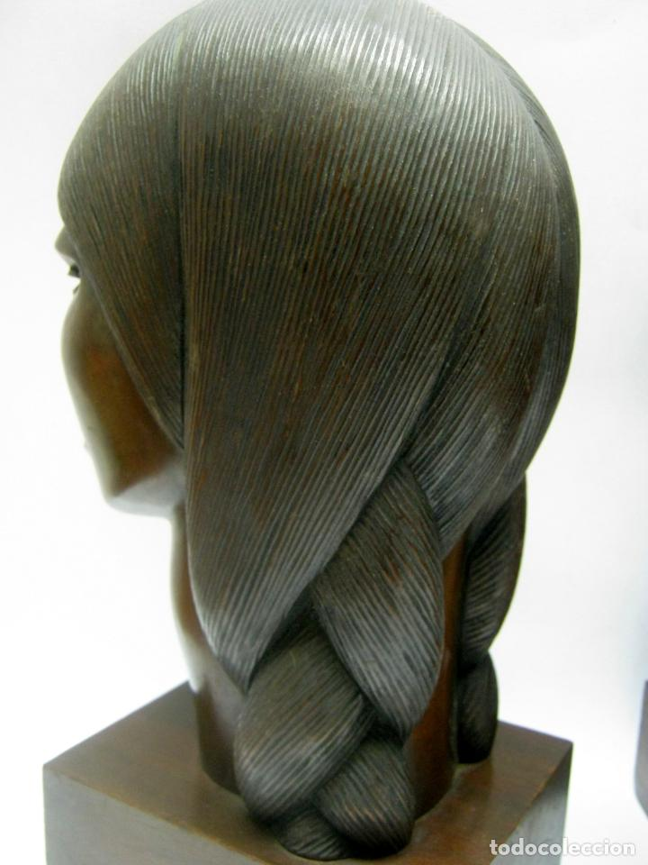 Arte: c.1930 pareja de esculturas Art Decó talla en madera de caoba. Cabezas nativos Bolivia. Firma Franco - Foto 7 - 188763358