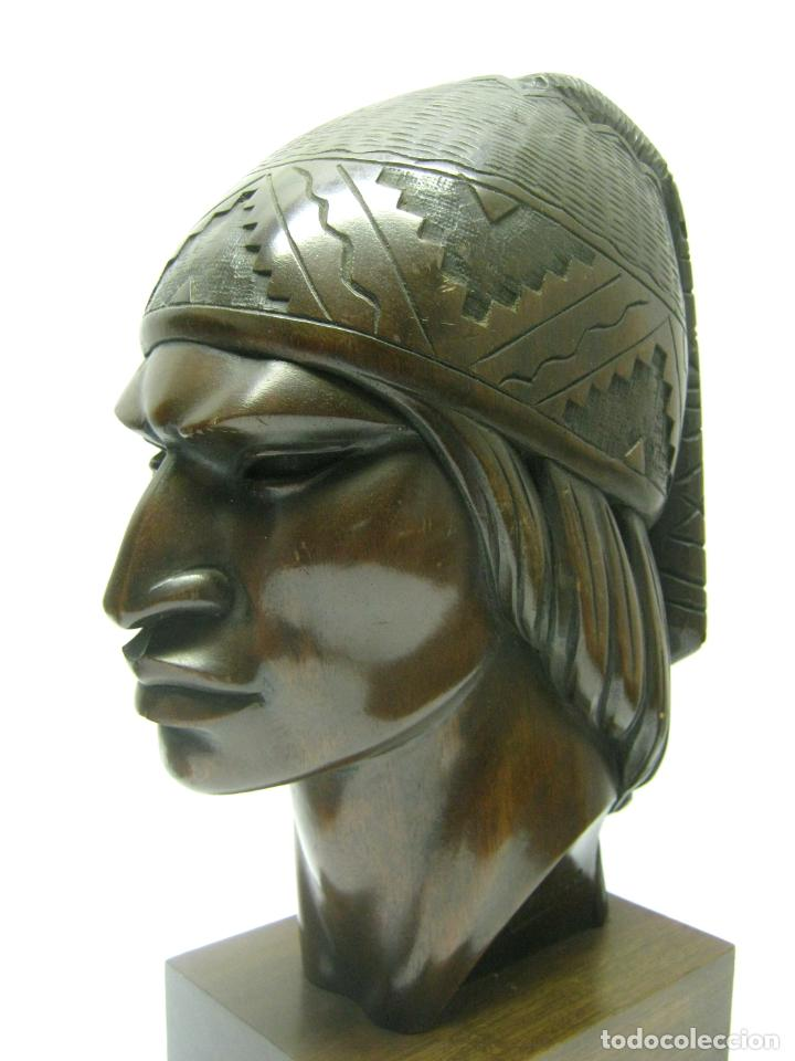 Arte: c.1930 pareja de esculturas Art Decó talla en madera de caoba. Cabezas nativos Bolivia. Firma Franco - Foto 8 - 188763358