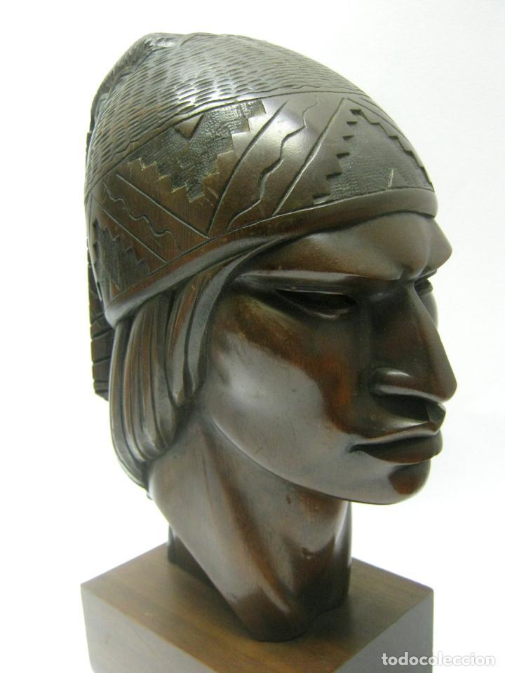 Arte: c.1930 pareja de esculturas Art Decó talla en madera de caoba. Cabezas nativos Bolivia. Firma Franco - Foto 10 - 188763358