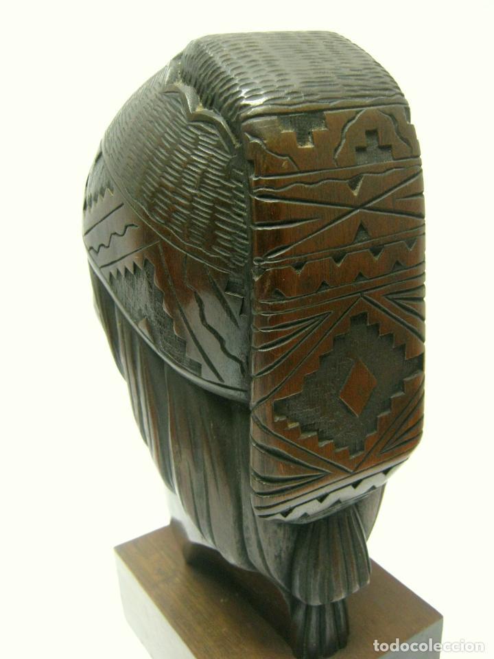 Arte: c.1930 pareja de esculturas Art Decó talla en madera de caoba. Cabezas nativos Bolivia. Firma Franco - Foto 11 - 188763358