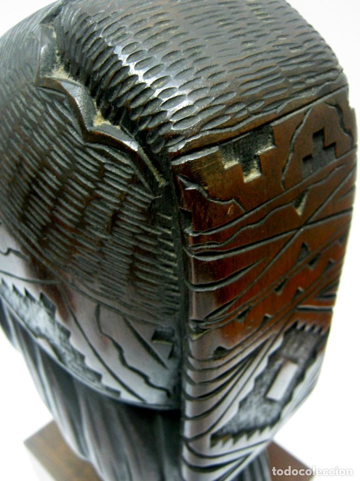 Arte: c.1930 pareja de esculturas Art Decó talla en madera de caoba. Cabezas nativos Bolivia. Firma Franco - Foto 12 - 188763358