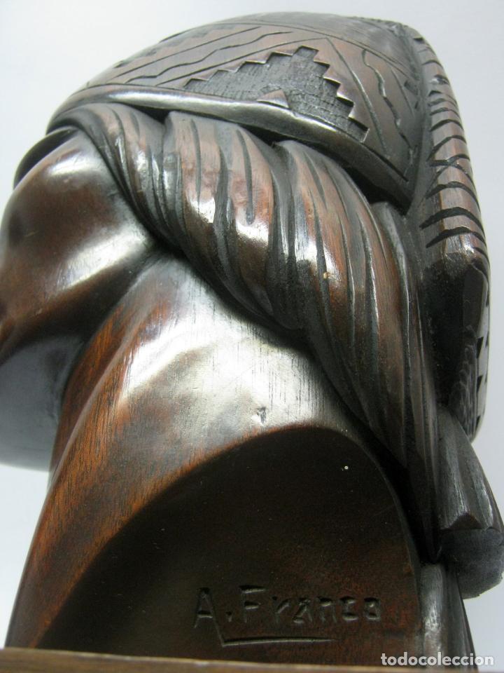 Arte: c.1930 pareja de esculturas Art Decó talla en madera de caoba. Cabezas nativos Bolivia. Firma Franco - Foto 13 - 188763358