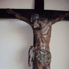 Arte: (ANT-191290)JESÚS CRUCIFICADO - TALLA DE MADERA POLICROMADA - CRISTO DOLIENTE - XVIII-XIX - GRANDE. Lote 189325518