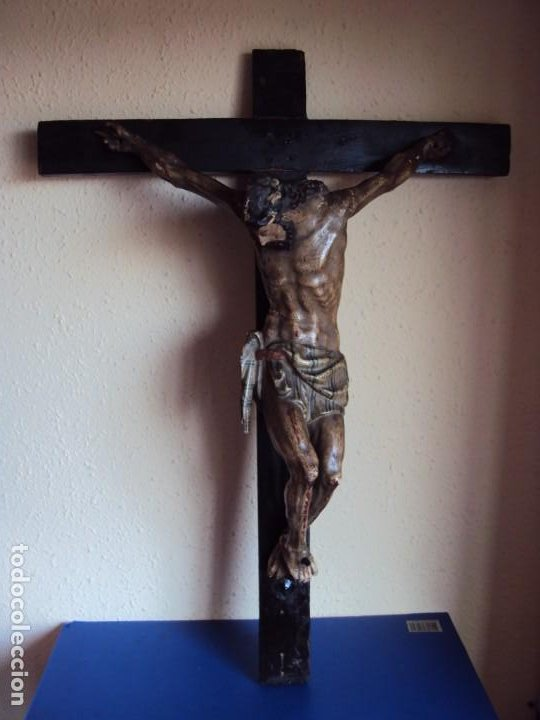 Arte: (ANT-191290)JESÚS CRUCIFICADO - TALLA DE MADERA POLICROMADA - CRISTO DOLIENTE - XVIII-XIX - GRANDE - Foto 2 - 189325518