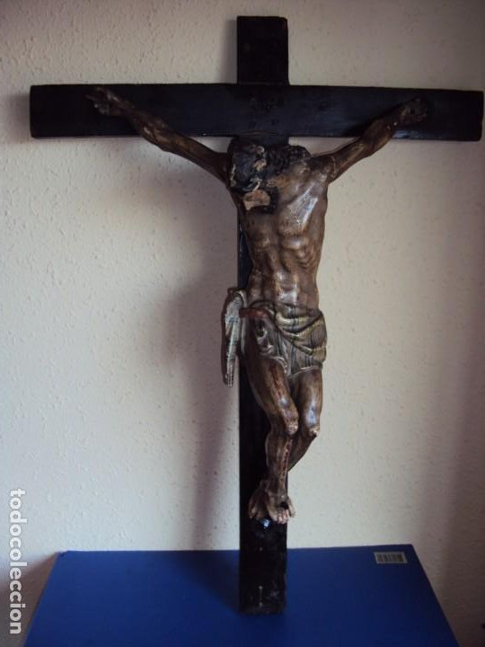 Arte: (ANT-191290)JESÚS CRUCIFICADO - TALLA DE MADERA POLICROMADA - CRISTO DOLIENTE - XVIII-XIX - GRANDE - Foto 3 - 189325518