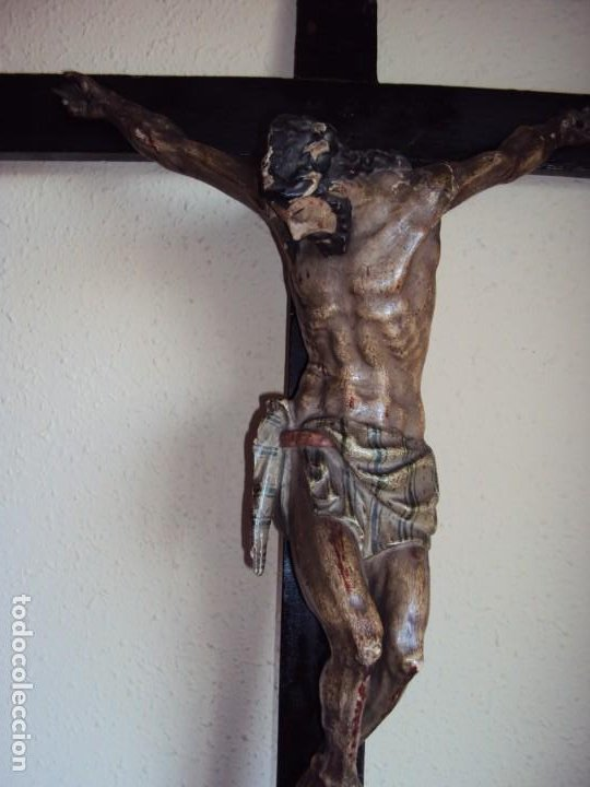 Arte: (ANT-191290)JESÚS CRUCIFICADO - TALLA DE MADERA POLICROMADA - CRISTO DOLIENTE - XVIII-XIX - GRANDE - Foto 4 - 189325518
