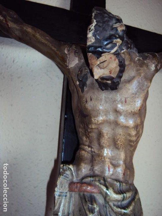 Arte: (ANT-191290)JESÚS CRUCIFICADO - TALLA DE MADERA POLICROMADA - CRISTO DOLIENTE - XVIII-XIX - GRANDE - Foto 6 - 189325518