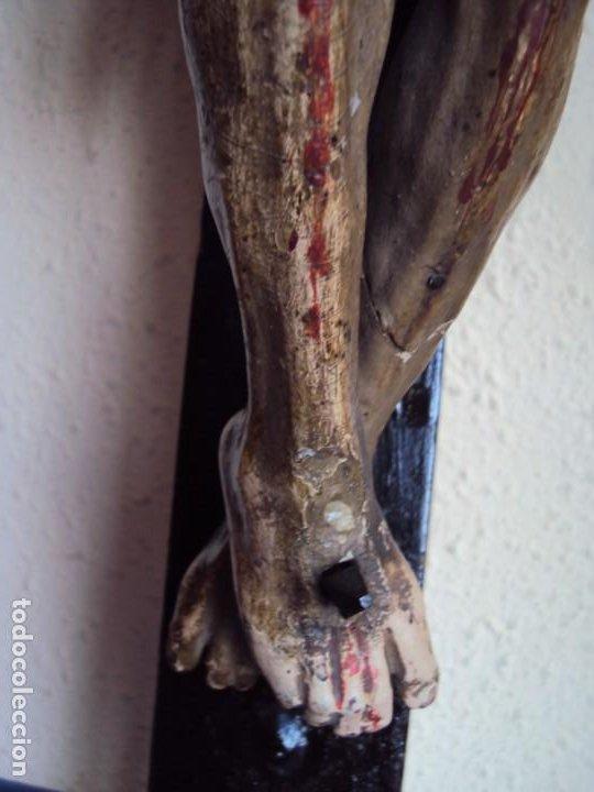 Arte: (ANT-191290)JESÚS CRUCIFICADO - TALLA DE MADERA POLICROMADA - CRISTO DOLIENTE - XVIII-XIX - GRANDE - Foto 17 - 189325518
