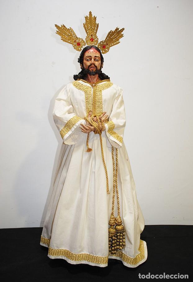 TALLA DE MADERA RELIGIOSA JESÚS CAUTIVO CON POTENCIAS (Arte - Escultura - Madera)