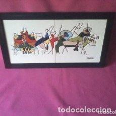 Arte: CESAR MANRIQUE - LOS PECES - CUADRO AZULEJOS CERAMICA AÑOS 80 - ORIGINAL. Lote 189832705