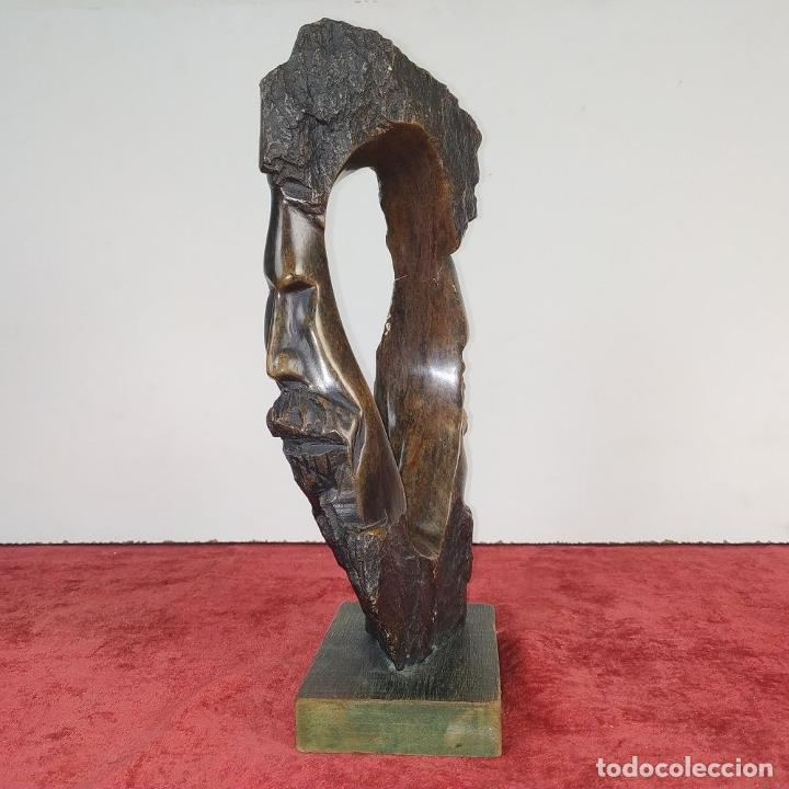 Arte: HOMBRE Y MUJER. ESCULTURA. PIEDRA TALLADA (MADERA FÓSIL?). ESPAÑA. SIGLO XX - Foto 6 - 190116955