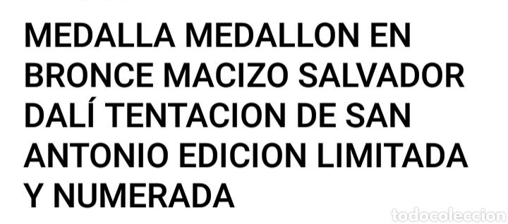 Arte: Medallon de bronce Salvador Dali - Foto 3 - 191003063