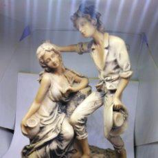 Arte: ANTIGUA FIGURA CON PEANA DE MADERA. Lote 191078025