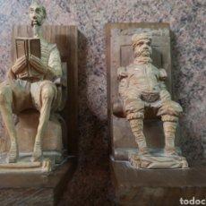 Arte: SUJETALIBROS DON QUIJOTE. MADERA TALLADA.. Lote 191302993
