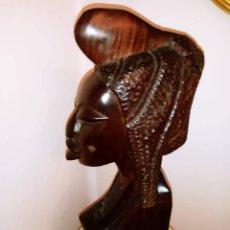 Arte: ESCULTURA BUSTO MUJER NEGRA AFRICANA MADERA MACIZA. Lote 191510845