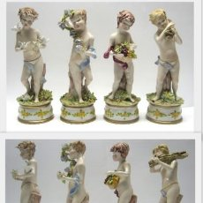 Arte: LAS CUATRO ESTACIONES. 25 CM . PORCELANA CAPODIMONTE . FIRMADO . ITALIA . SIGLO XX. Lote 191533401