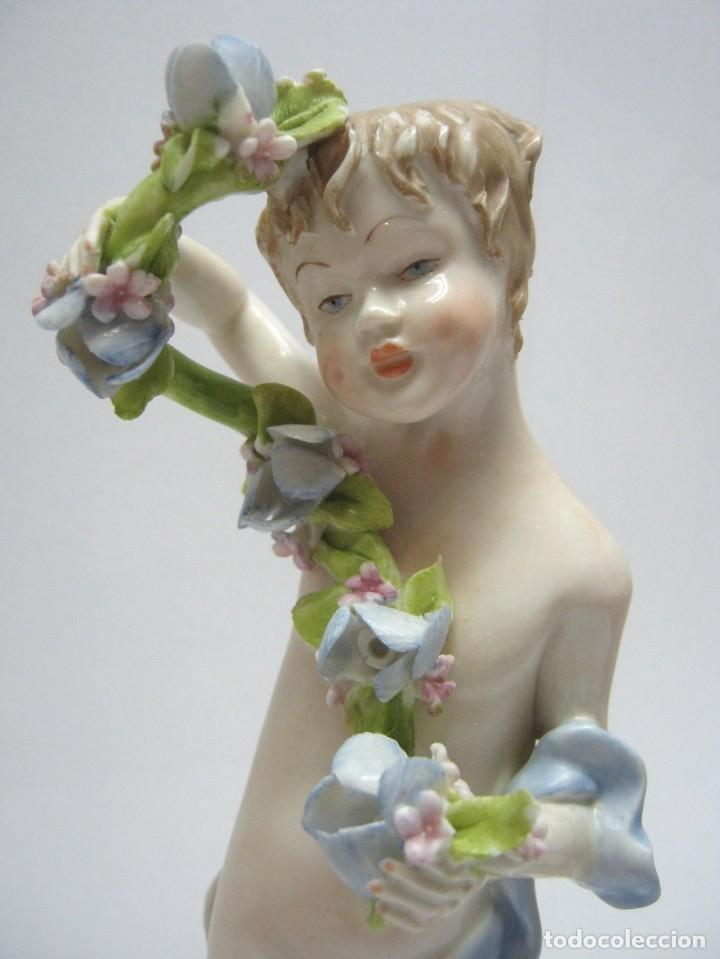 Arte: LAS CUATRO ESTACIONES. 25 cm . PORCELANA CAPODIMONTE . FIRMADO . ITALIA . SIGLO XX - Foto 6 - 191533401