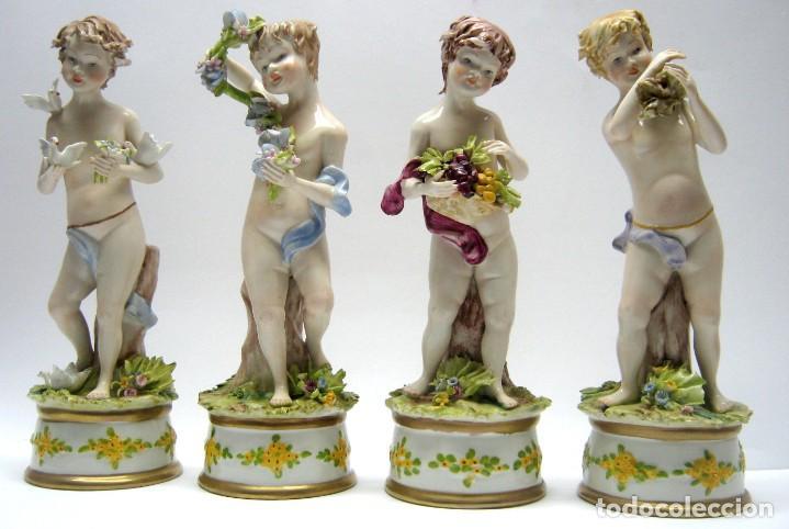 Arte: LAS CUATRO ESTACIONES. 25 cm . PORCELANA CAPODIMONTE . FIRMADO . ITALIA . SIGLO XX - Foto 16 - 191533401