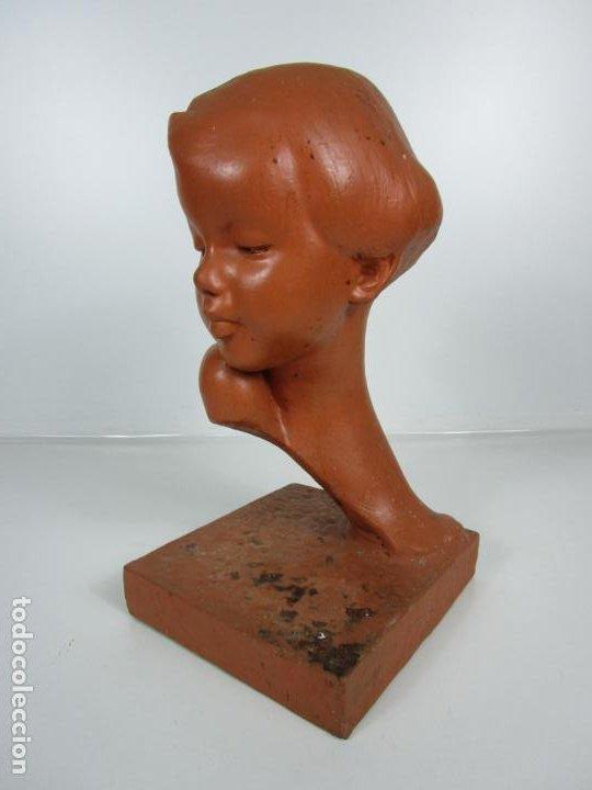 Arte: Escultura - Busto de Niña Art Nouveau - Terracota Firmada - Años 20-30 - Foto 3 - 191555125
