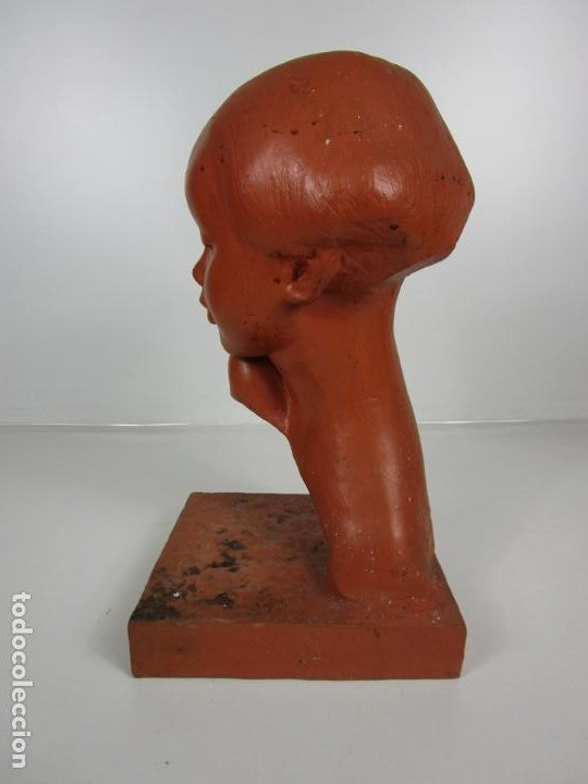 Arte: Escultura - Busto de Niña Art Nouveau - Terracota Firmada - Años 20-30 - Foto 5 - 191555125