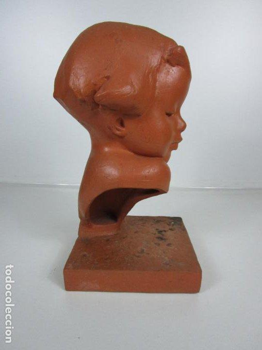 Arte: Escultura - Busto de Niña Art Nouveau - Terracota Firmada - Años 20-30 - Foto 9 - 191555125
