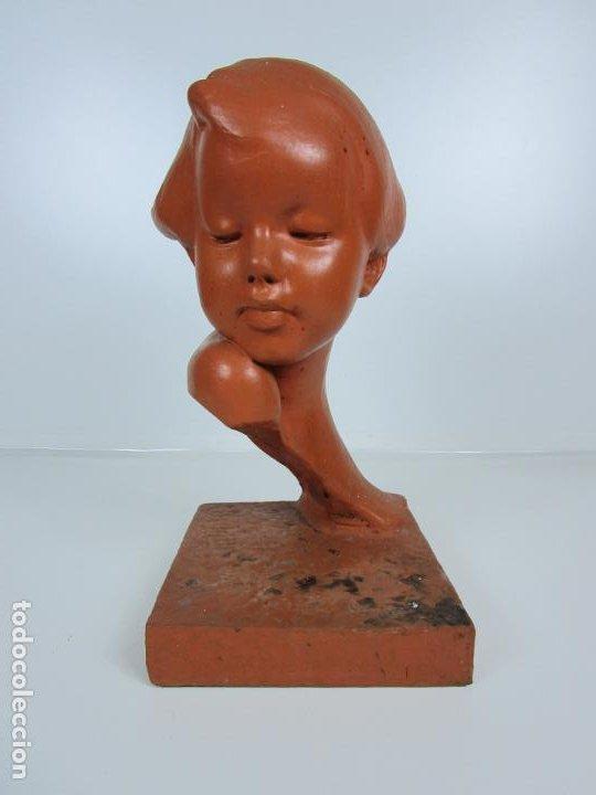 Arte: Escultura - Busto de Niña Art Nouveau - Terracota Firmada - Años 20-30 - Foto 10 - 191555125