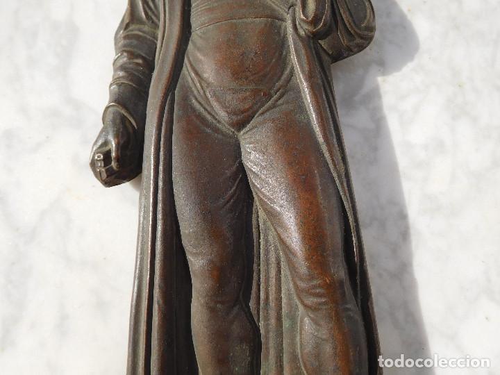 Arte: Figura antigua de bronce para colgar de Gutenberg imprenta - Foto 4 - 192147850