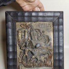 Arte: EXCLUSIVO RELIEVE EN PLACA DE BRONCE HONORIFICO A VICENTE OLIVER FALLAS SUECA-DENIA DE 1949-VALENCIA. Lote 193626207
