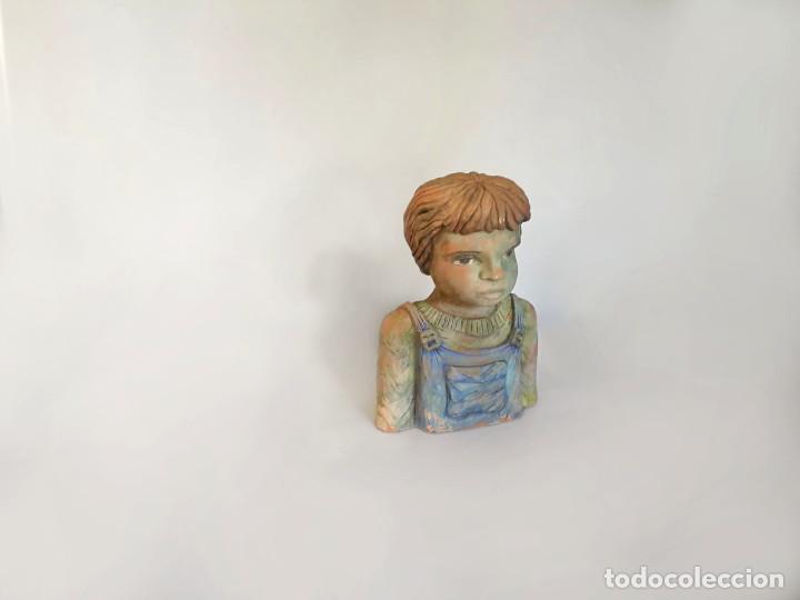 Arte: Escultura de terracota busto niño Firmada y fechada 1996 - Foto 2 - 193761676