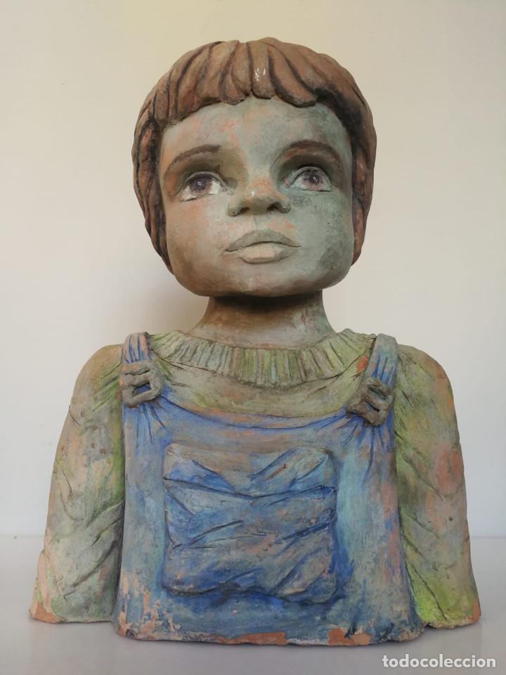 Arte: Escultura de terracota busto niño Firmada y fechada 1996 - Foto 5 - 193761676