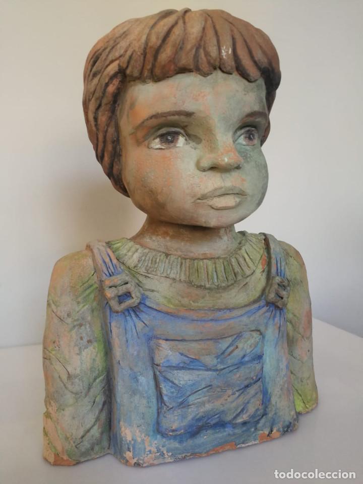 Arte: Escultura de terracota busto niño Firmada y fechada 1996 - Foto 6 - 193761676