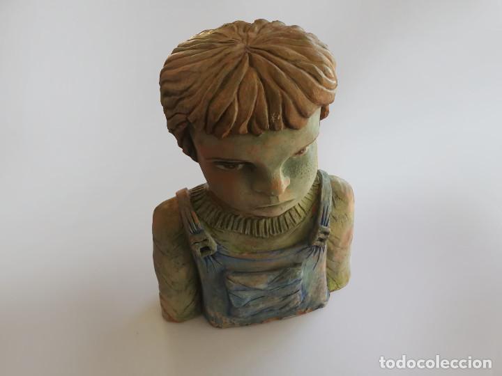 Arte: Escultura de terracota busto niño Firmada y fechada 1996 - Foto 8 - 193761676