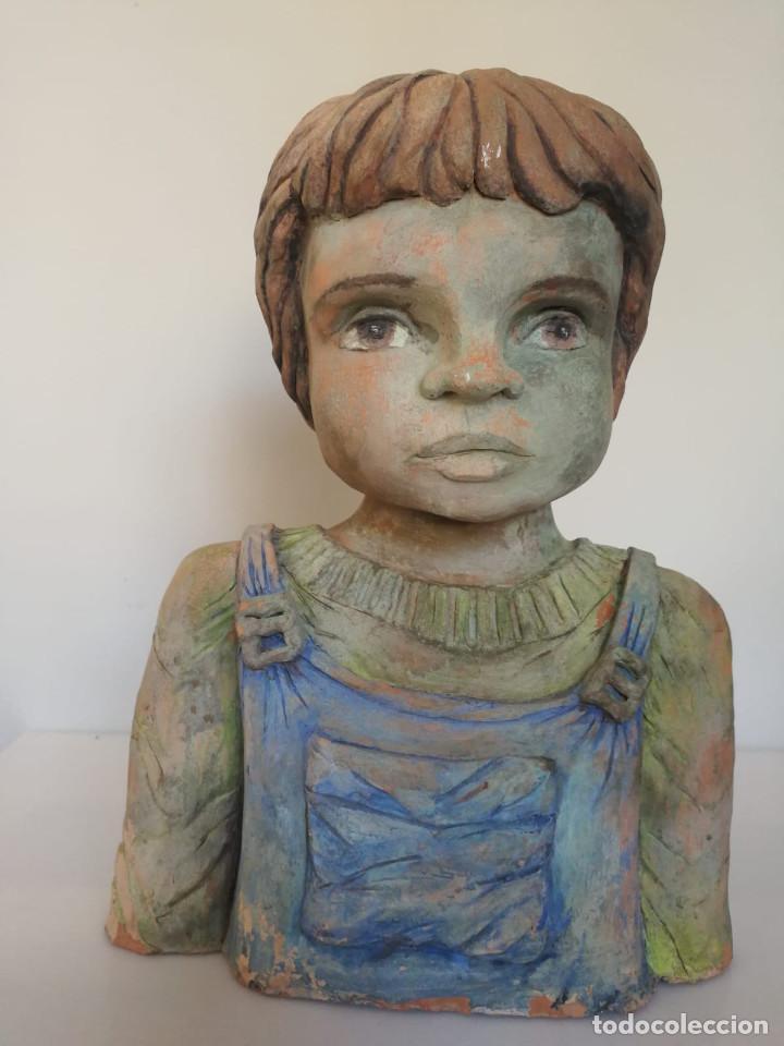 Arte: Escultura de terracota busto niño Firmada y fechada 1996 - Foto 16 - 193761676