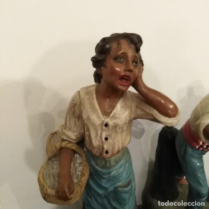 Arte: Antigua pareja de figuras de barro granadino, cenacheros malagueños años 20 - Foto 5 - 193868800