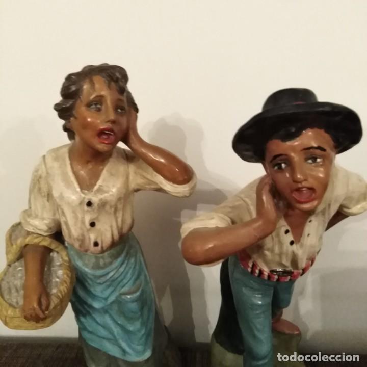 Arte: Antigua pareja de figuras de barro granadino, cenacheros malagueños años 20 - Foto 8 - 193868800