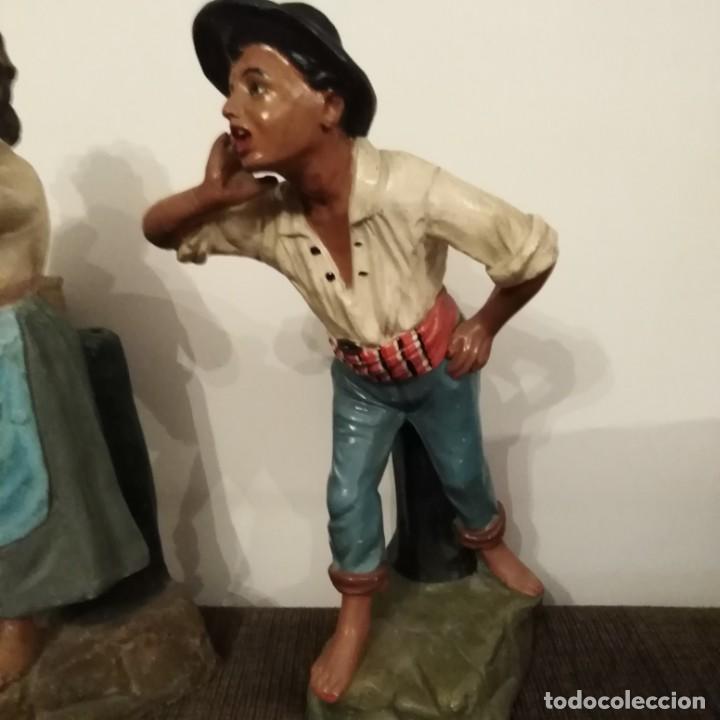 Arte: Antigua pareja de figuras de barro granadino, cenacheros malagueños años 20 - Foto 24 - 193868800