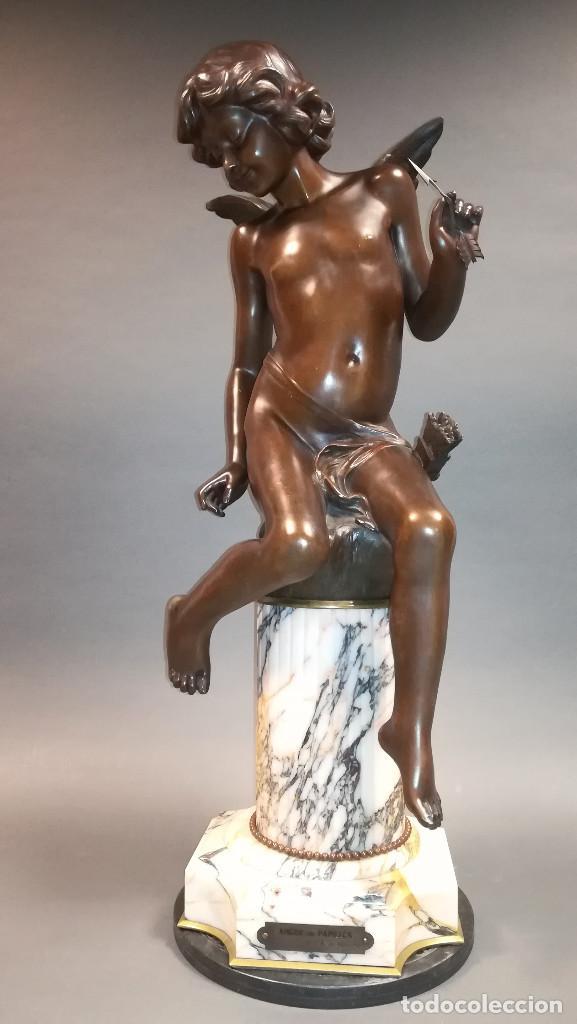 FIGURA DE BRONCE REGULAR NIÑA ANGEL, AMOUR PAPILLON (Arte - Escultura - Bronce)