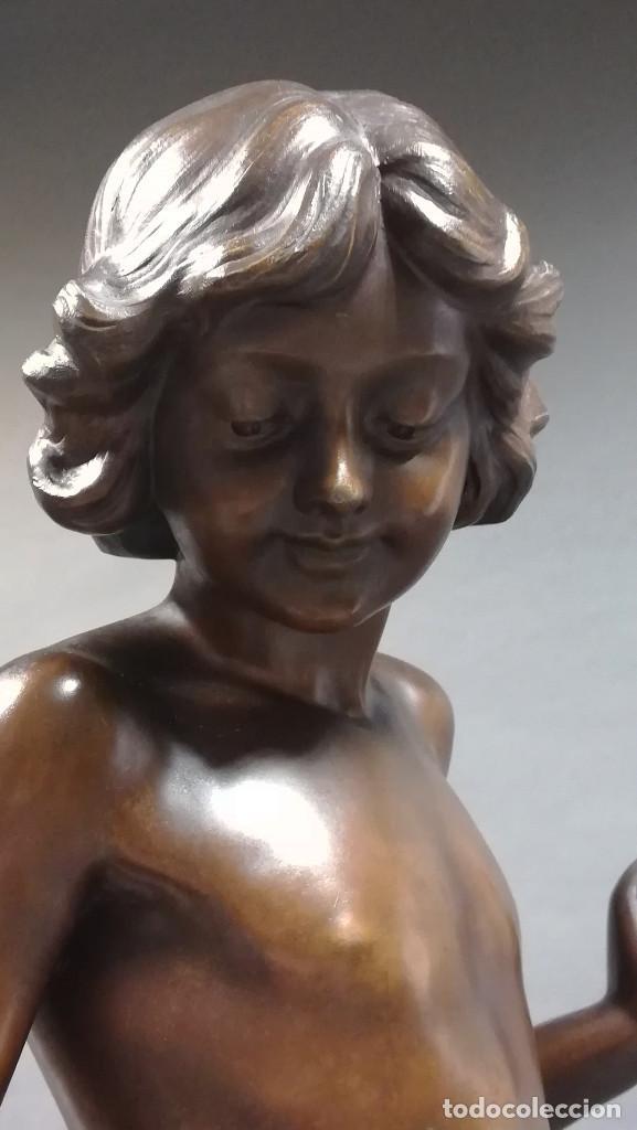 Arte: FIGURA DE BRONCE REGULAR NIÑA ANGEL, AMOUR PAPILLON - Foto 6 - 194006847