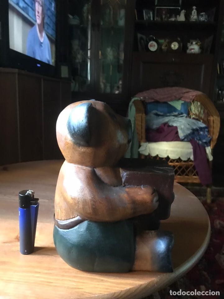 """Arte: Talla de madera """" oso con caja de regalo """" , años 50 - Foto 5 - 194117951"""