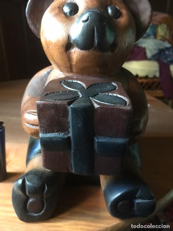 """Arte: Talla de madera """" oso con caja de regalo """" , años 50 - Foto 8 - 194117951"""