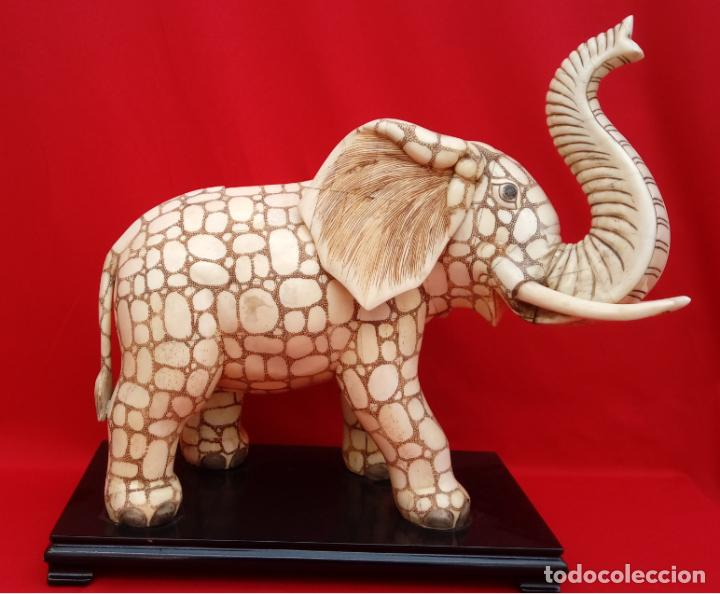 ESCULTURA ELEFANTE DE HUESO, CIRCA 1900. MAGNÍFICA TALLA Y GRAN TAMAÑO. 37.5 CMS DE ALTURA. POR SU (Arte - Escultura - Hueso)